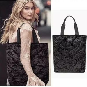 New Victoria's Secret Black Velvet Tote Bag